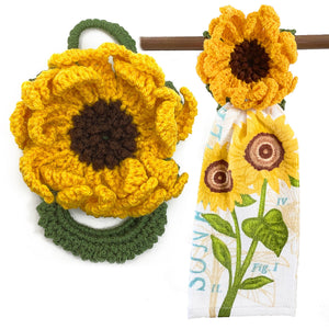 Farmhouse Sunflower Hanging Kitchen Towel Hanger Holder Easy Change