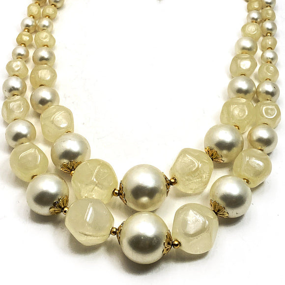 1960s Chunky Bib Necklace Vanilla Pearl Beads Hong Kong