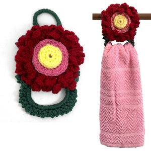 Shabby Chic Flower Hanging Kitchen Whole Towel Holder Easy Change Ring