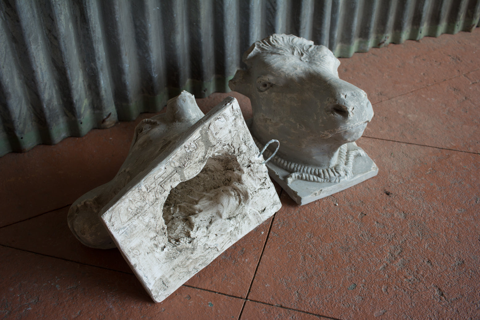 Pair Of Plaster Bulls' Heads
