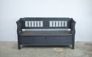 Painted Farmhouse Pine Box Settle Bench
