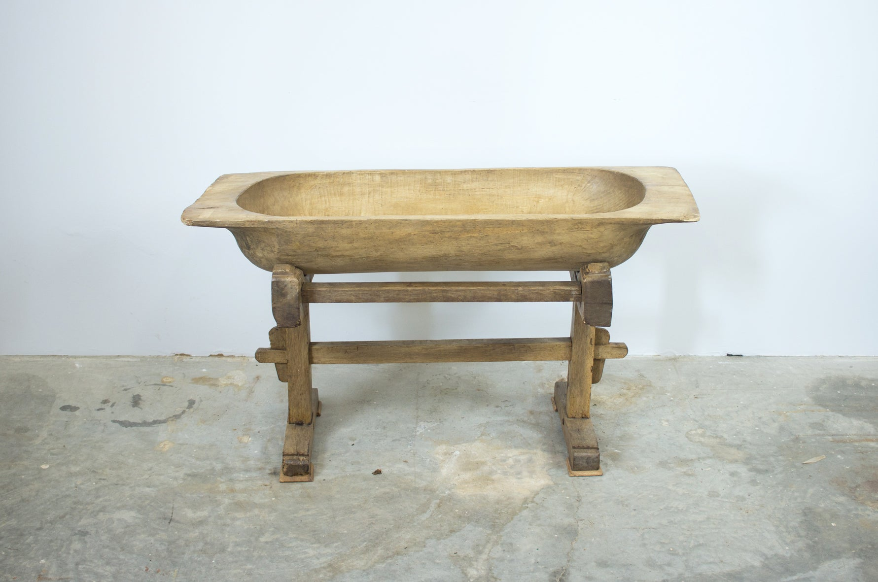 Hand Carved Wooden Dough Bowl on Stand