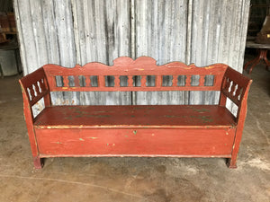 Gustavian Style Pine Box Settle Bench