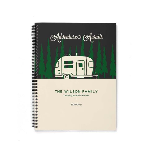 RV Log & Camping Journal (Travel Trailer in the Woods) - Travel Planner - Personalize Camp Journal