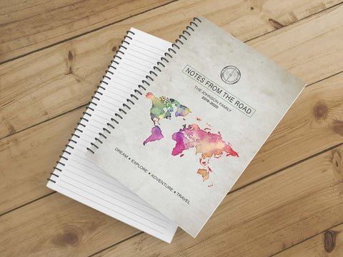 Personalize Notebook  (Map Multi) - Spiral Notebook - Notes From the Road