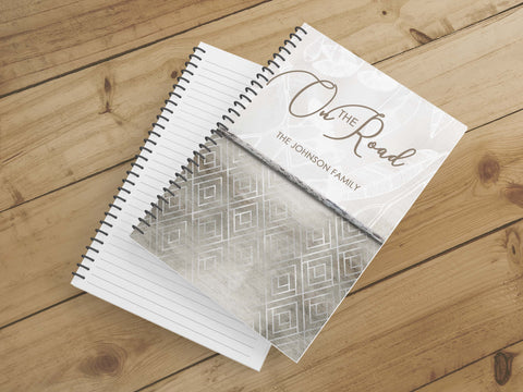 Personalize Notebook  (Brown Grid) - Spiral Notebook - Notes From the Road