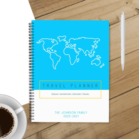 Personalized Travel Planner & Journal (Map Blue) - Spiral Bound