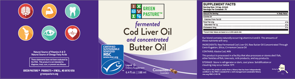 Green Pasture Blue Ice Royal Blend Fermented Cod Liver Oil Gel with Concentrated Butter Oil Cinnamon Tingle 188ml - Nourishing Ecology