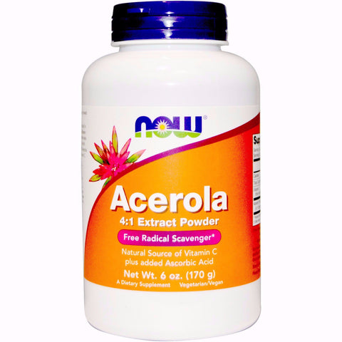 NOW Foods Acerola Powder is available in Australia from Nourishing Ecology. Contains Free Radical Scavengers and is a natural source of Vitamin C with added ascorbic acid. It is in a 170g bottle.