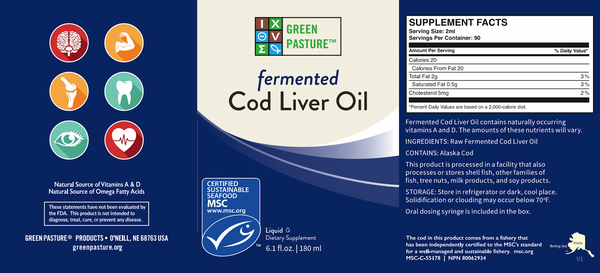 Green Pasture Blue Ice Fermented Cod Liver Oil Liquid - Unflavoured - 180 ml - Nourishing Ecology