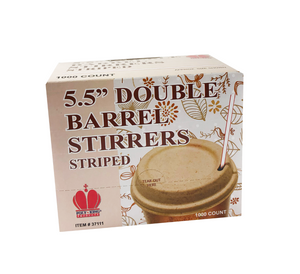 "5.5"" Double Barrel Stirrer Straws, Unwrapped"