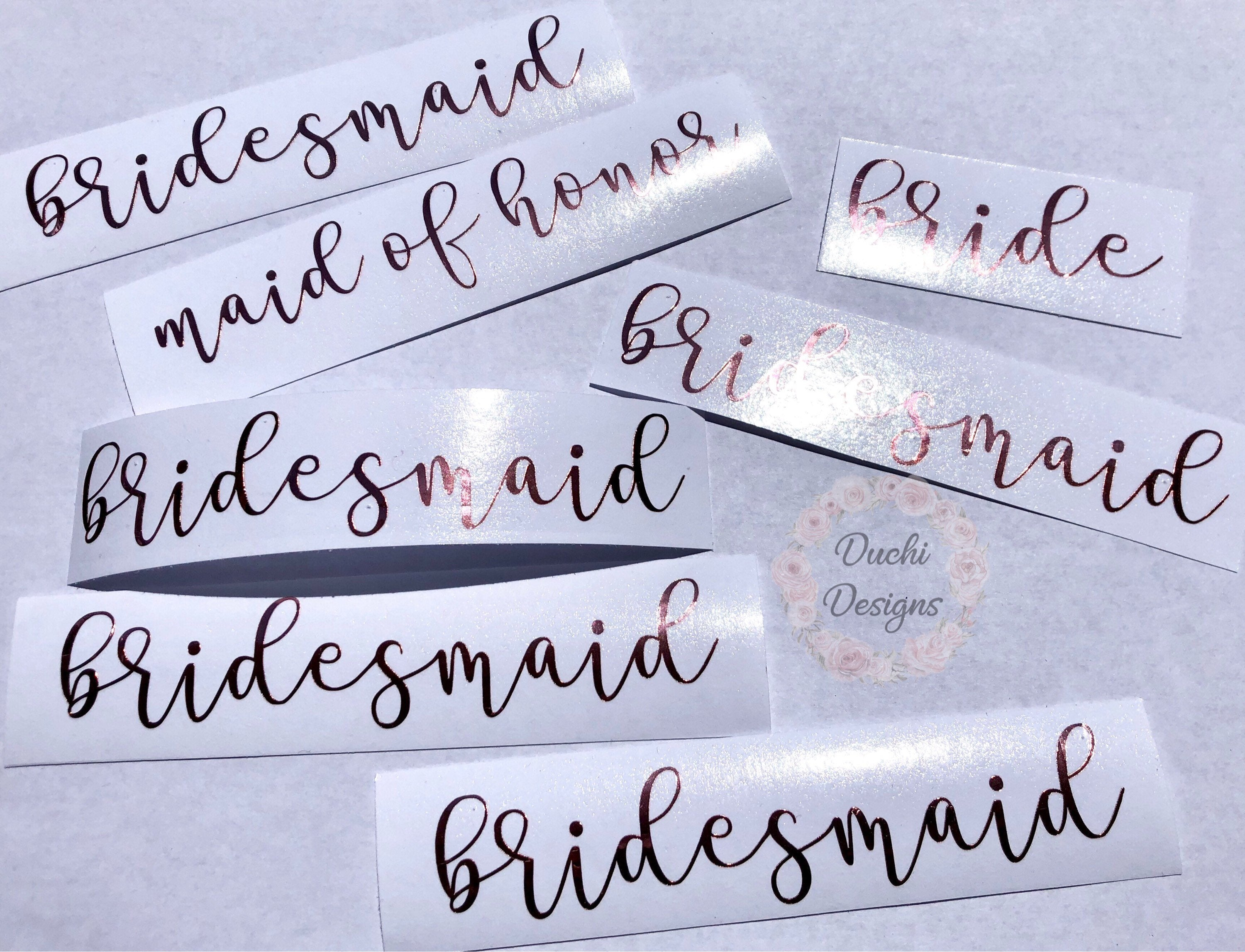 b2619a80e59 Bridesmaid Champagne Glass Decal, Stickers Marriage, Vinyl Decals for  Wedding Party, Custom Wedding Stickers, Bride Tribe Wine Glass Decals