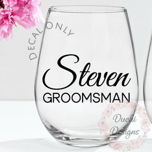 648be5d8e0c Stemless Wine Glasses Decal Bridal Party Gifts Custom Glass Wedding Gi –  Duchi Designs
