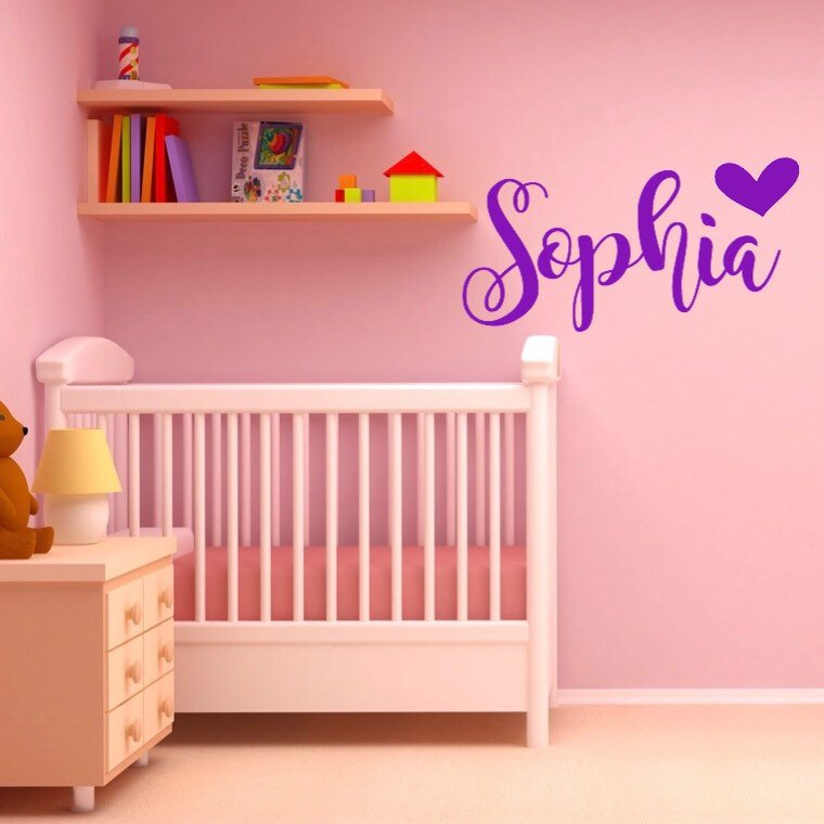 girls name wall decal, nursery vinyl decals, fancy girls name decal