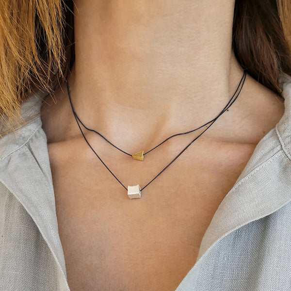Set of 2 Geometric Necklaces! Triangle and cube pendany