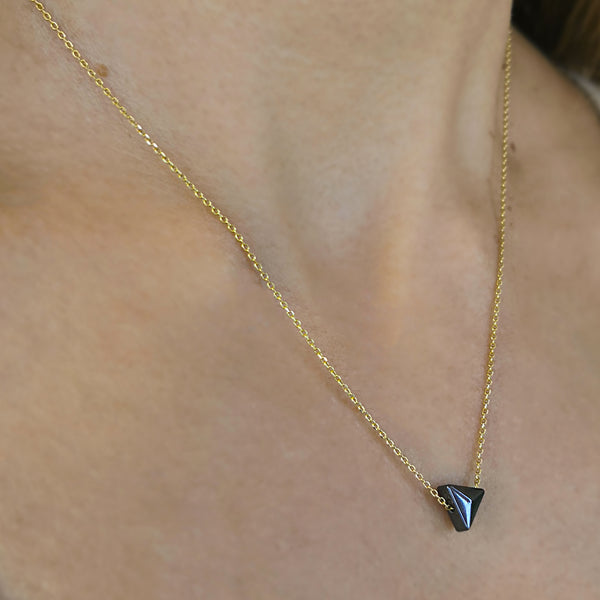 Silver Necklace with a hematite in triangle