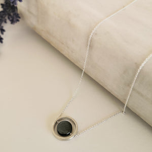 Hematite Silver Necklace in minimal style!