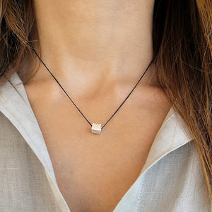 Silver Cube Minimalist necklace