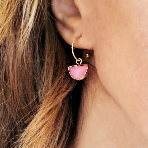 Pink Quartz Earrings with Rose Quartz Gemstone
