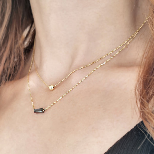 Set of 2 Necklaces! Hematite & Gold Ball charms