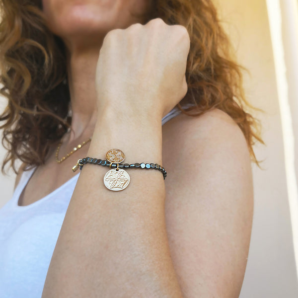 Anxiety Relief Bracelet with greek coins and hematite gemstone!