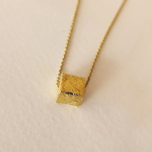 Geometric Necklace with a Cube Pendant