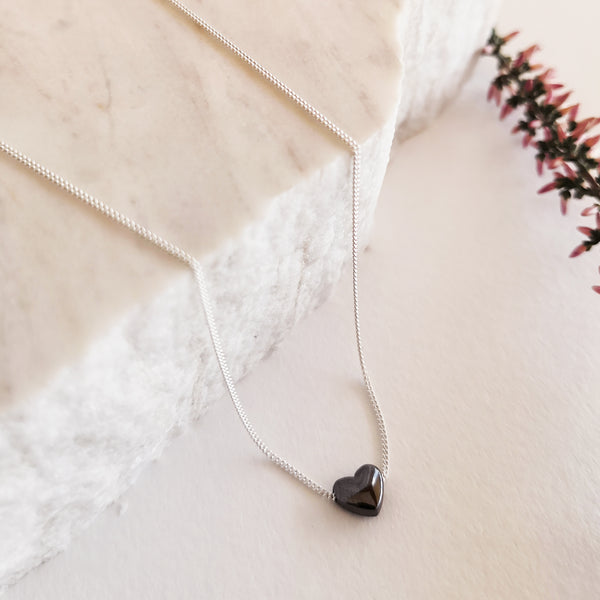 Hematite heart necklace! Silver 925!