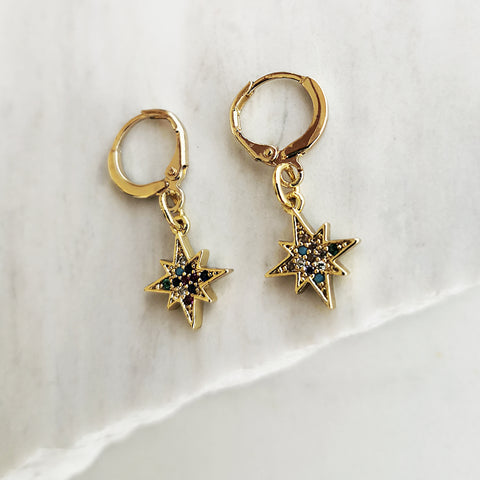 Gold Hoop Earrings with a colorful North Star charm