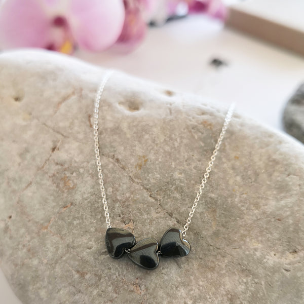 3 hematite hearts necklace
