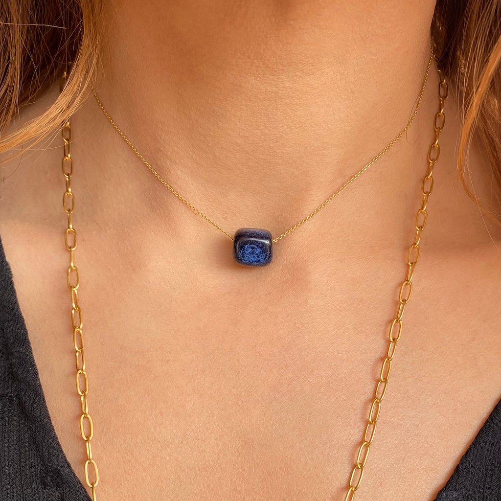 Blue ceramic cube necklace cobalt blue necklace simple modern jewelry geometric Ioanna sterling silver chain layering something blue