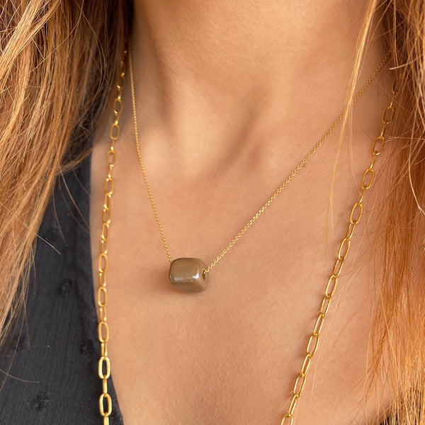 Ceramic Cube Necklace, Silver 925 Chain & Ceramic Pendant! Minimalist & Modern