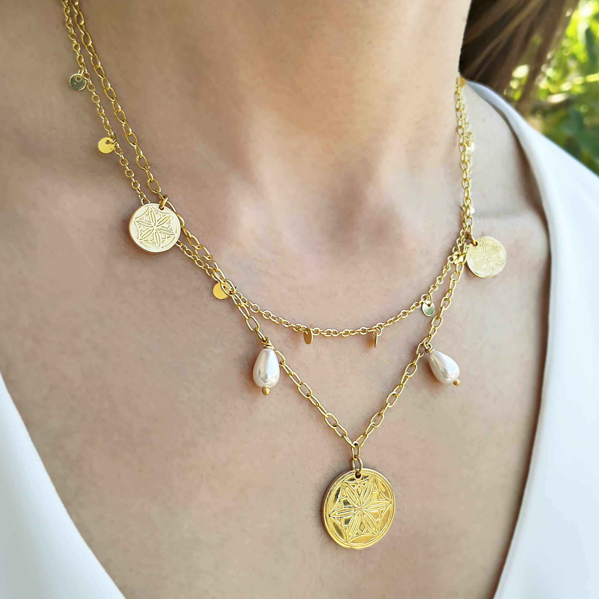 Greek coins & Pearls Necklace in 2 Layers! 24K gold filled