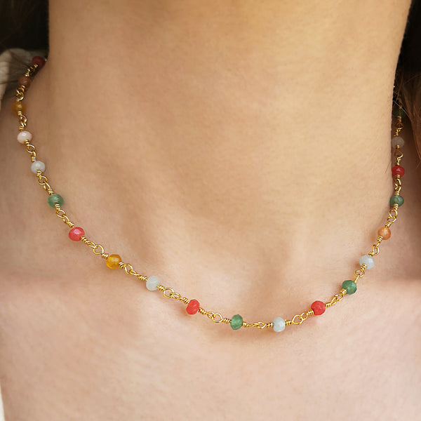 Rosary Necklace with colourfull agate gemstones