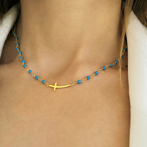 Side Cross Necklace with Tiny Cross Pendant & Turquoise gems