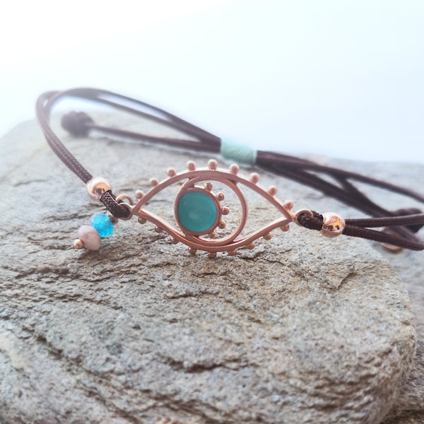 Rose Gold Evil Eye Bracelet with Macrame