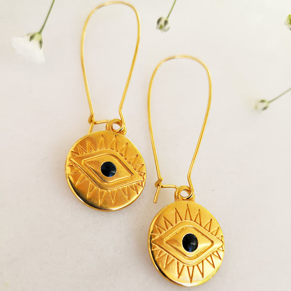 Evil Eye Gold Earrings