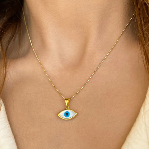Evil Eye Protection Necklace | Made from Sterling Silver 925 in Greece | 24k Gold plated