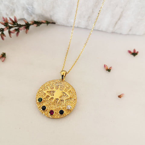 Evil Eye necklace with colourful zircons