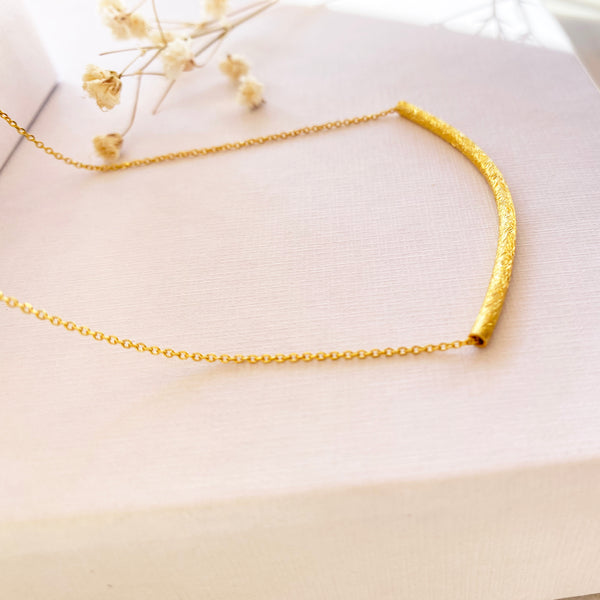 Dainty Bar Necklace with a shiny tube! Silver 925