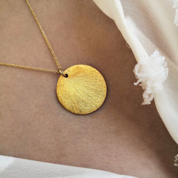 Gold Disc Pendant -  Big Coin Necklace - Silver 925