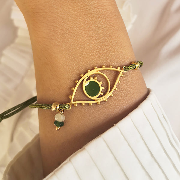 Silver Evil Eye Bracelet with Macrame