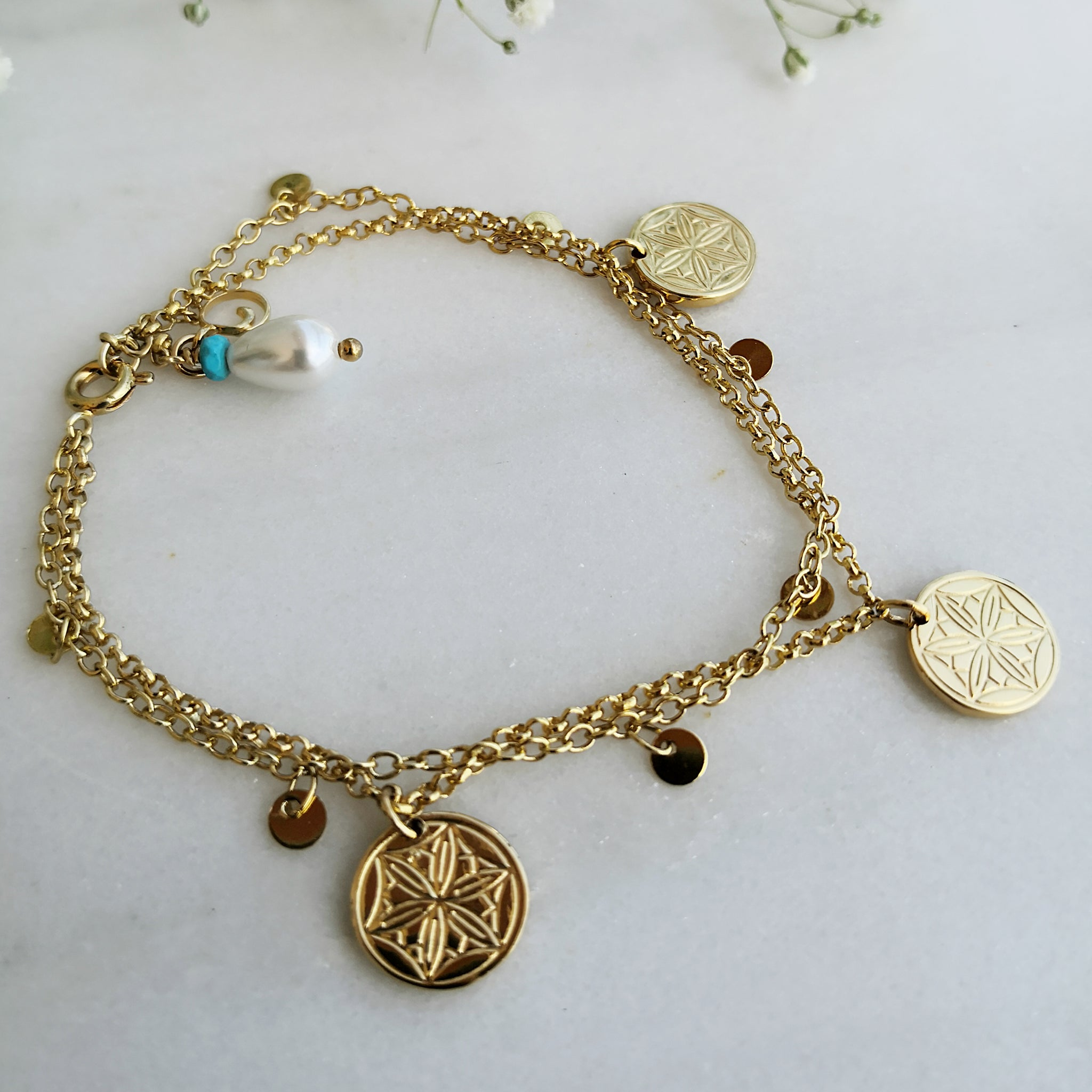 Gold Coin Bracelet with greek coins and drop pearls