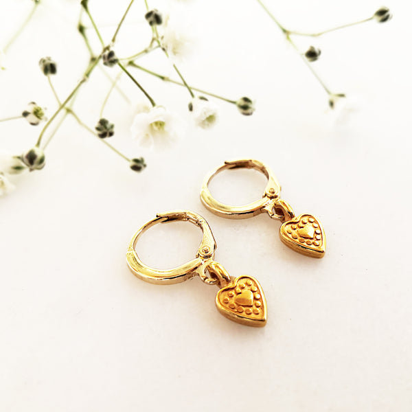 Gold Hoop Earrings with HEART charms