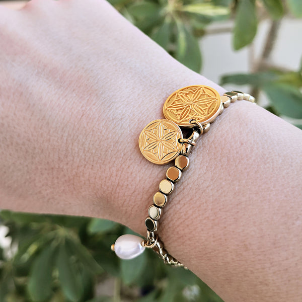 Gold Coin Bracelet with greek coins and hematite gemstone! Anxiety Bracelet!