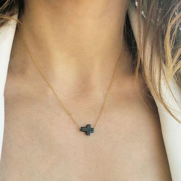 Tiny Cross Necklace with a Hematite Side Cross Pendant