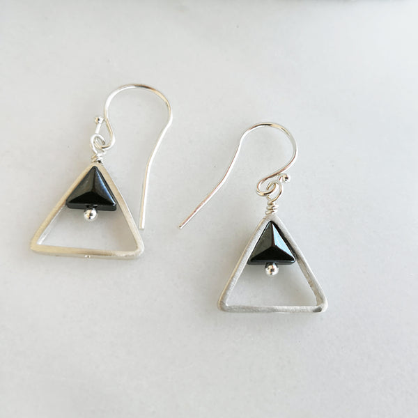 Geometric Triangle earrings with hematite gems