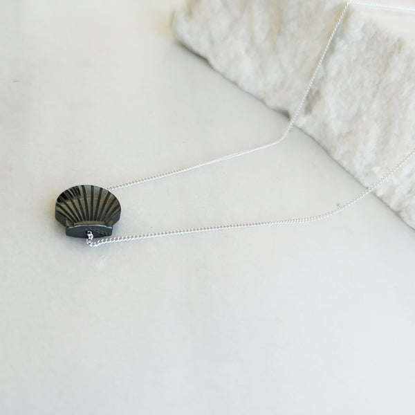Seashell summer necklace with a hematite gemstone