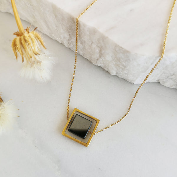 Anxiety relief Hematite Necklace in Geometric Style
