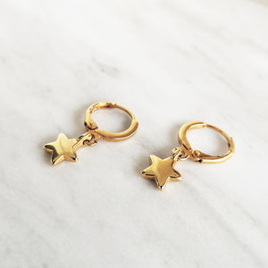 Gold Hoop Earrings with Star charms