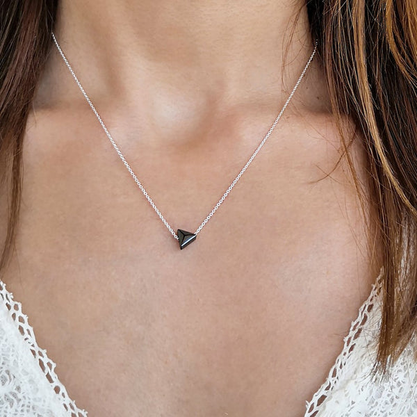 Silver Necklace with a hematite gemstone in triangle